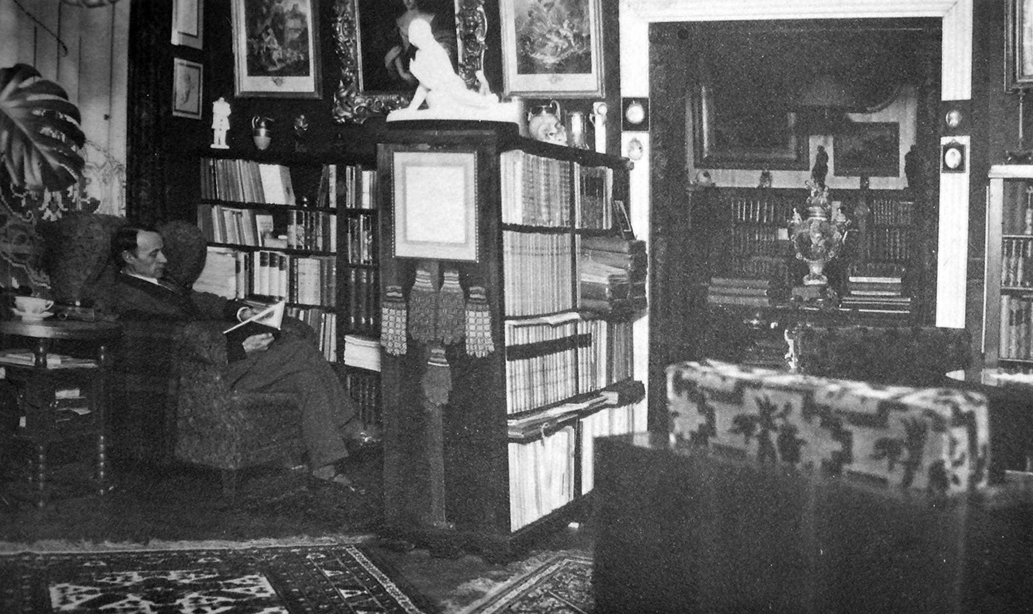 Daumantas savo bibliotekoje