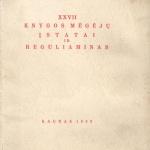 XXVII KNYGOS MĖGĖJŲ ĮSTATAI IR REGULIAMINAS